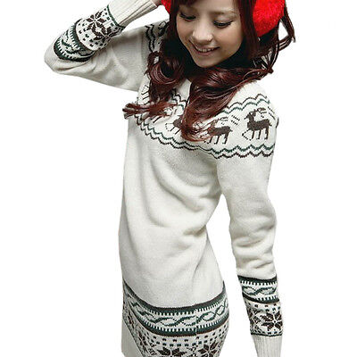 Hot Womens Crew Neck Deer Snowflake Knit Sweater Jumper Knitwear Pullover Tops
