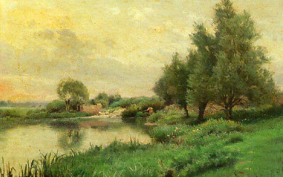 Excellent Oil painting Fisherman along the river landscape with trees canvas