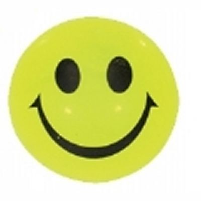 4 Flashing LEDs Light-Up Yellow Rubber Bouncy Stress Ball Toy - Smiley Face