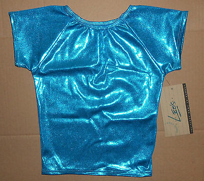 NWT Foil Jazz Dance Top Peacock Blue Large child or small adult