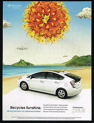 2010 Toyota Prius Car Photo Solar Roof Recycles Sunshine Print Ad