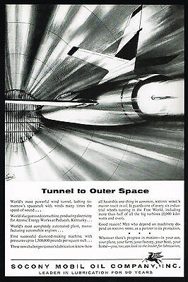 1956 Socony Mobil Oil Wind Tunnel Spacecraft Test Outer Space Print Ad