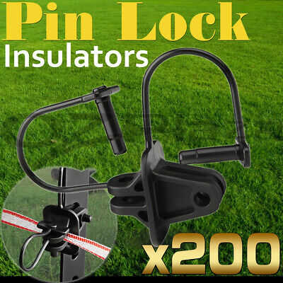 200 Pinlock Insulator Electric Fence Energiser Steel Post Pin Lock Polytape