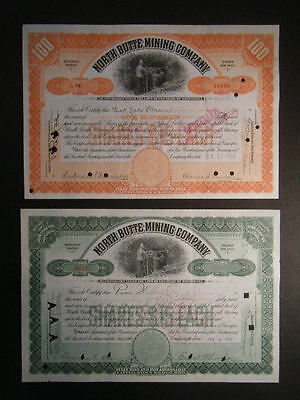 PAIR North Butte Mining Company of Minnesota Issued&Redeemed 1905/09 Certifs.