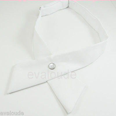 New High Quality Plain White Crossover Bow Tie - Pearl Stud Fastener - Unisex