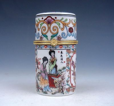 Famille-Rose Palace Lady Spring Painted Porcelain Toothpick Holder #110913B3