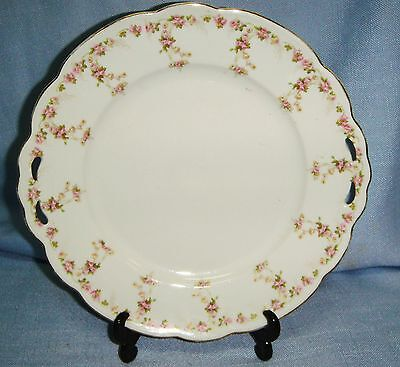 """BEAUTIFUL M Z AUSTRIA OPEN HANDLED PLATE WITH DELICATE ROSE DESIGN 10"""""""