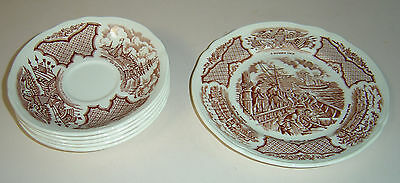 "ALFRED MEAKIN FAIRWINDS 7"" SALAD DESSERT PLATE 4 SAUCERS BROWN"