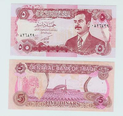 Rare Saddam's Money 5 Dinar Note - 5 Pack - Free US Shipping !!!!