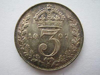 1907 silver Threepence A UNC.