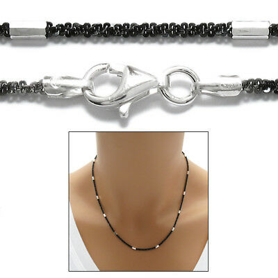 925 Sterling Silver Black Twist Butterfly with Faceted Tube Chain Necklace 2mm