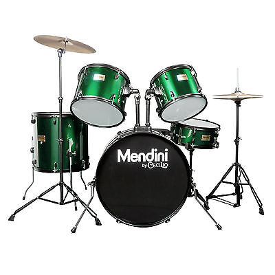 Mendini Green 5 Piece Complete Adult Drum Set Poplar Shell W/ Cymbal & Hardware