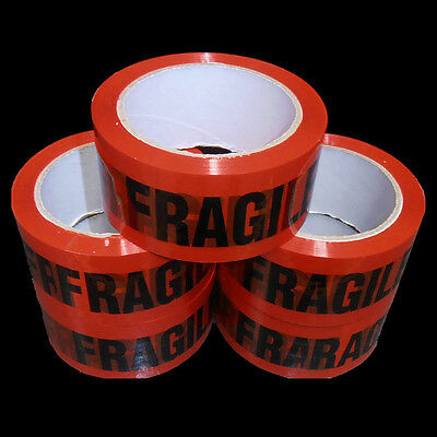 5 Rolls FRAGILE Sticky Packing Tape 75 Meter x48mm Black on Red High Quality