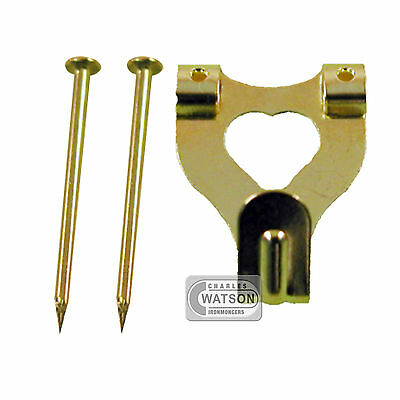 PACK 10 Brass Plated DOUBLE PICTURE HOOK inc Pin/Nail Photo Frame Hanging Kit