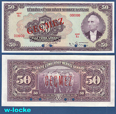 TÜRKEI / TURKEY  50 Lira L.1930 (1942) SPECIMEN  UNC  P.142As