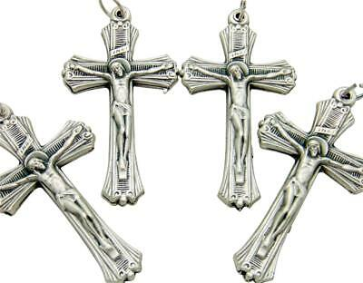 "MRT 4 Lot Ribbed Pectoral Crucifix Pendant Silver Plate Catholic Cross 2"" Italy"