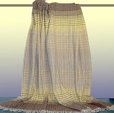 Vintage Handwoven Blanket Throw Shawl Wrap Pastel Yellow Brown Wool Fabric