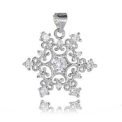 Beautiful! 1pc Sterling Silver Cubic Zirconia Nice Snowflake Necklace Pendant