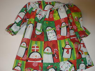Clothes For  American Girl / Bitty Baby Red & Green Christmas Penguin Nightgown