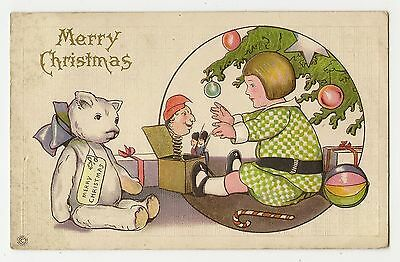 VINTAGE CHRISTMAS POSTCARD CHILD GIRL PLAYING WHITE TEDDY BEAR JACK IN THE BOX