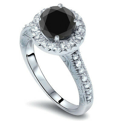 2.25CT Vintage Black Diamond Halo Engagement Antique Ring 14 Karat White Gold