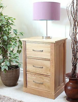mobel solid oak three drawer bedside cabinet lamp table