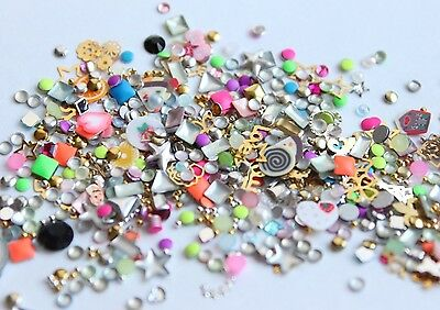 Nail Art gold/silber Metal 100x Einleger StrassStein Fimo super Luxus Mix