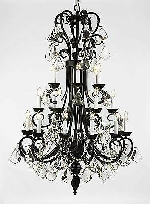 """24 LIGHT LARGE BEAUTIFUL 30""""X50"""" METAL OR WROUGHT IRON CHANDELIER WITH CRYSTALS"""