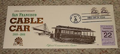 Very Nice!! San Francisco Cable Car First Day Of Issue Envelope With Stamps 1988