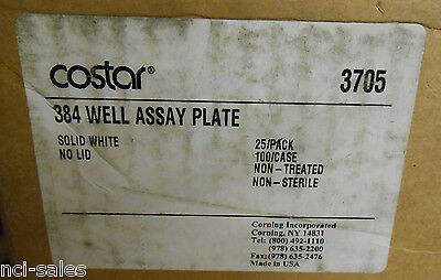 Case Of 100 Corning Costar 384 Well Flat Bottom No Lid Microplates 3705