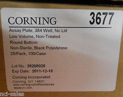 Case Of 100 Corning Costar 384 Well Round Bottom No Lid Microplates 3677