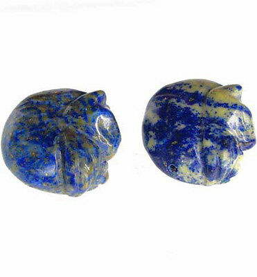 COZY! One Hand Carved Natural Lapis Kitty Cat Bead 008514