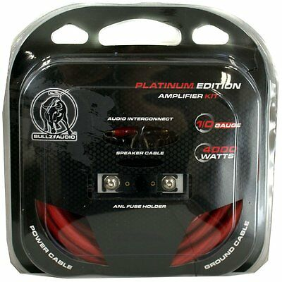 NEW BULLZ AUDIO PPAK0BL 1/0 Gauge Amplifier/Amp Wiring Kit w/ Platinum Terminals