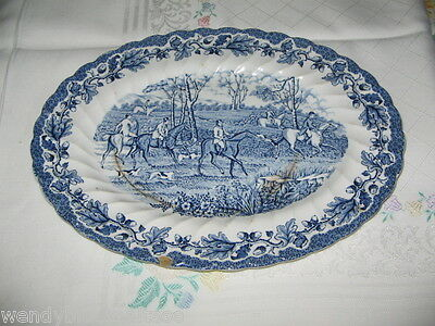 Myotts Fox Hunting Hand Engraved Perm Colours Oval Blue White Plate 29x22.5cm