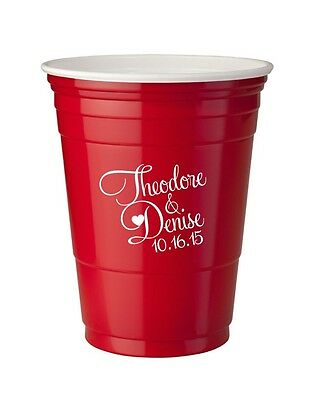 500 Custom Personalized 16oz Red Solo Cups Wedding Favors Bar Cups