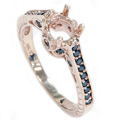 Rose Gold 1/4 CT Vintage Black Diamond Ring Heirloom Setting Antique Mount AAA