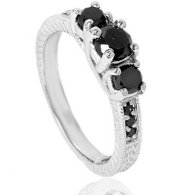 1.75CT Black Diamond Vintage Antique Heirloom Engagement Ring 14K White Gold New