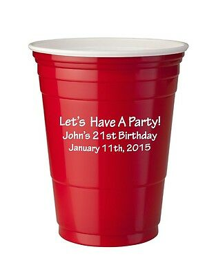 250 Custom 16oz Red Solo Cups Personalized Birthday Favor Bar Cups 21 25 40 50th