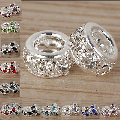 Lot Pretty Crystal Silver Big Hole Spacer European Charm Beads Fit Bracelet