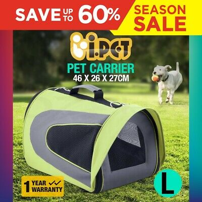 iPET Pet Carrier Dog Cat Soft Crate Cage Portable Kennel Foldable Large Green