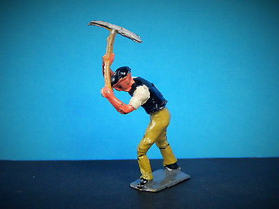 Vintage Rare Lead Charbens Road Worker With Pick Axe Workmen Series Britains