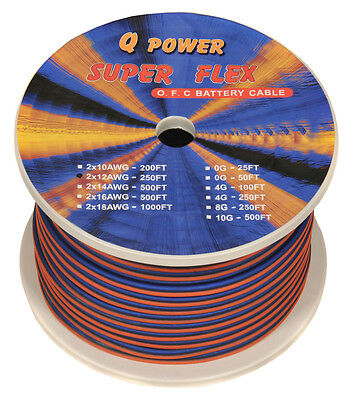 NEW Q-POWER 12G250 12-Gauge Ga 250' Spool High Performance Car/Home Speaker Wire