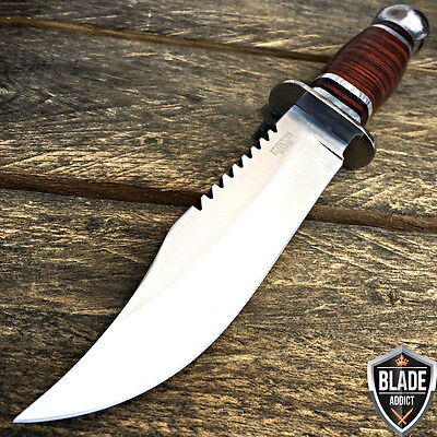 "10.5"" Stainless Steel Survival Skinning Hunting Knife Wood Bowie Camping Skinner"