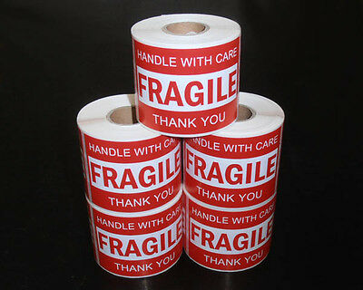 1250PCS 76x50mm Fragile Handle With Care Thank You Adhesive Label Sticker Roll
