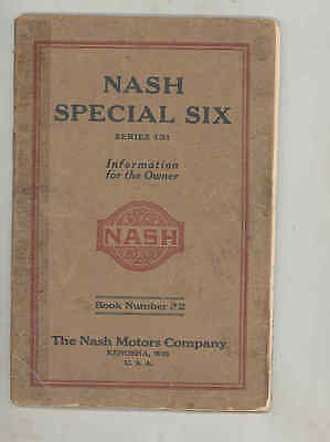 1925 Nash Special Six Series 131 Owner's Manual wt7460