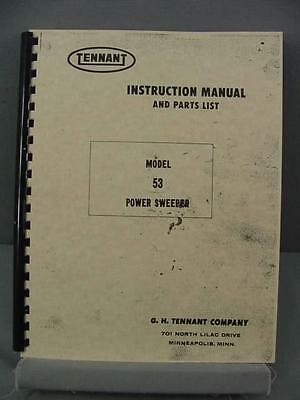 Tennant 53 Power Sweeper Instruction & Parts Manual