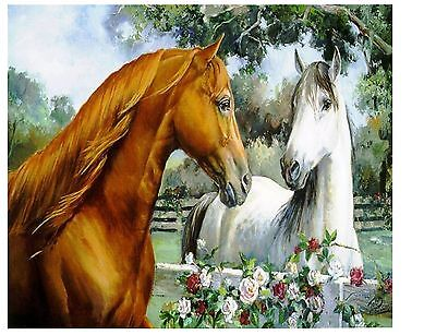 Horse Love At The Fence Brown And White Horses  Computer Mouse Pad 9 X 7