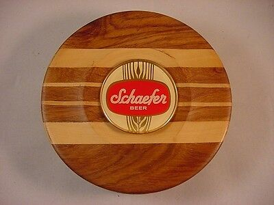 SCHAEFER BEER TRAVEL ROUND PEGGED HAND CARVED WOOD CHESS SET NEW