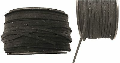 2mm BLACK Flat GENUINE SUEDE Thong Cord String Lace Leather Craft