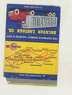 1950's Decatur Cartage Trucking Truck Large Matchbook Cover Chicago IL mb2490